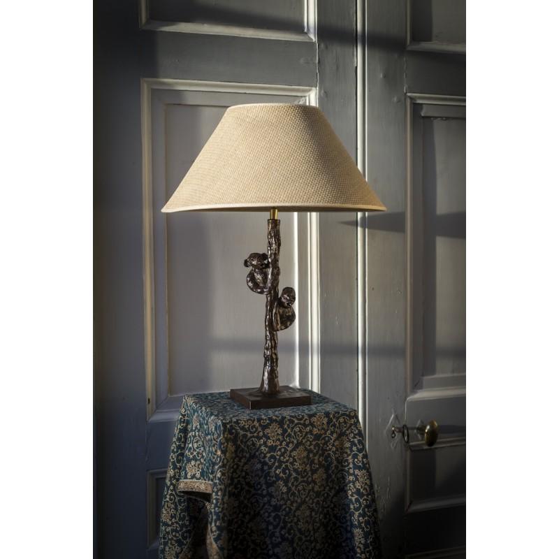 Lampe de table en bronze. Singe et gorille dans un arbre
