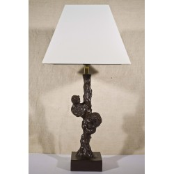 Bronze Table Lamp, Lion and Bear in Tree