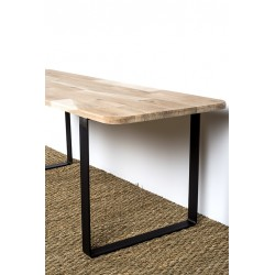 Steel table leg with raw solid wood top - detail