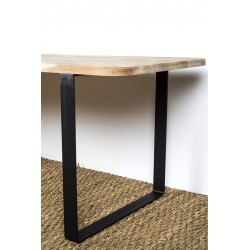 Steel table leg with solid wood top - detail