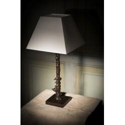 Lampe de table en bronze. Modèle renard et oies dans un arbre