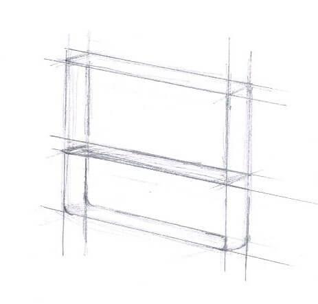 dessin de notre pied de table basse style industriel
